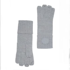 Michael Kors Gray Rib Rubber Patch Gloves One Size